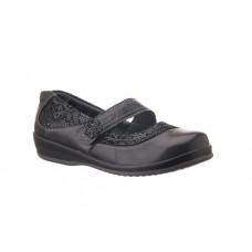 Sandpiper Extra Wide Velcro Shoe - Falmer in Black - 4E to 6E Fitting