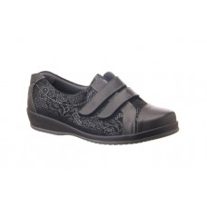 Sandpiper Extra Wide Velcro Shoe - Fargo in Black - 4E to 6E Fitting
